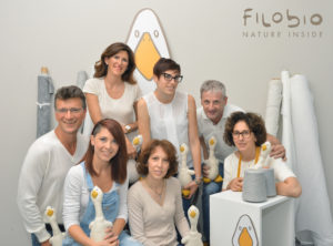 Clockwise from left: Giovanni in charge of international sales and certification; Paola, sole director; Daniela, customer service and collection coordinator; Massimo, sales manager; Silvana, pattern maker; Lorella in charge of prototyping; Stefania, communication and design